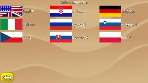 Language selection screen